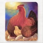 Pollo con el arte de la granja del polluelo - mult alfombrillas de raton