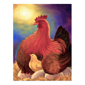 Pollo con el arte de la granja del polluelo - postal