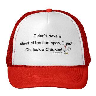 Pollo corto de la capacidad de concentración gorros bordados