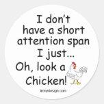Pollo corto de la capacidad de concentración pegatina