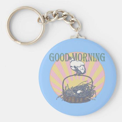 Pollo de la buena mañana llavero personalizado