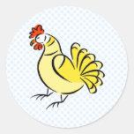 Pollo de la caza pegatina redonda