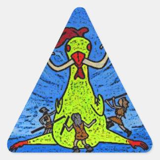 pollo de la edad de hielo pegatina triangular