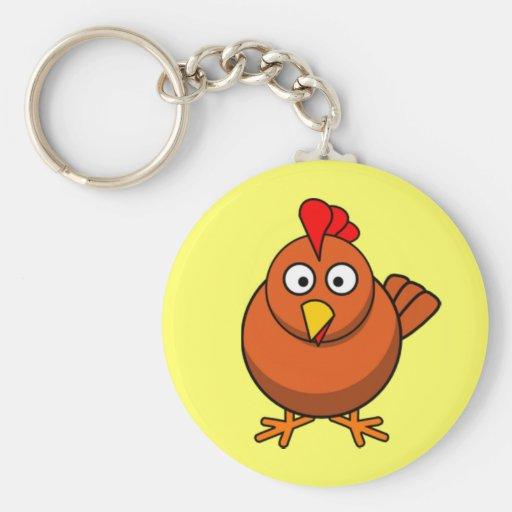 Pollo de la gallina del dibujo animado llavero personalizado