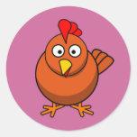 Pollo de la gallina del dibujo animado pegatina redonda