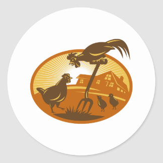 pollo de la gallina del gallo y espada de los pegatina redonda