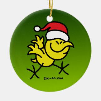 Pollo de las Felices Navidad Adorno Redondo De Cerámica