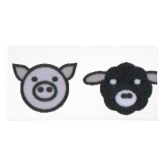 pollo de las ovejas del cerdo de la vaca tarjeta personal con foto