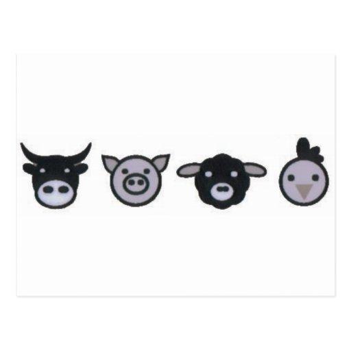 pollo de las ovejas del cerdo de la vaca tarjetas postales