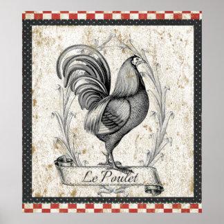 Pollo de Le Poulet Vintage Póster