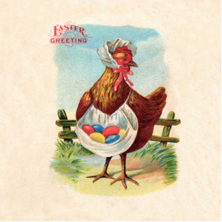 Pollo de Pascua del vintage y huevos de Pascua Fotoescultura Vertical