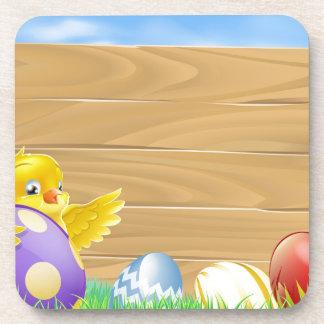 Pollo de Pascua y huevos pintados chocolate Posavaso
