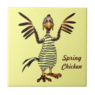 Pollo de primavera azulejo cuadrado pequeño