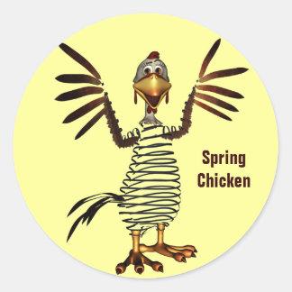 Pollo de primavera pegatina redonda