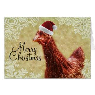 Pollo de Santa del copo de nieve del invierno de Tarjeta De Felicitación