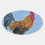Pollo del animal del personalizar del cielo del calcomanía oval