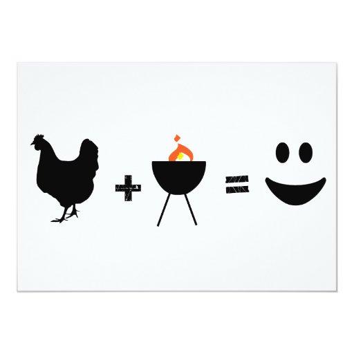 """Pollo del Bbq feliz Invitación 5"""" X 7"""""""