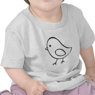 Pollo del bebé en bosquejo blanco y negro camiseta