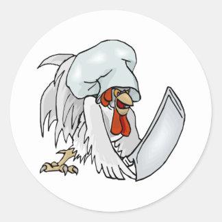 Pollo del cocinero pegatina redonda