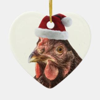 Pollo del gorra de Santa Adorno De Navidad