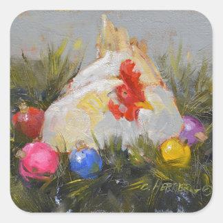 Pollo del navidad pegatina cuadrada