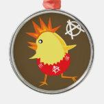 Pollo del punk rock ornamento para arbol de navidad
