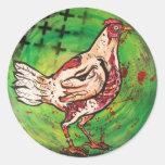 Pollo del zombi pegatina redonda