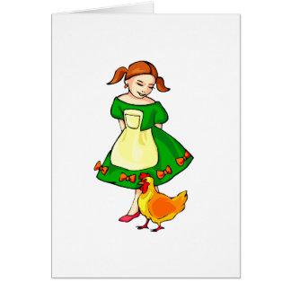 pollo derecho del vestido del verde del chica en tarjeta pequeña