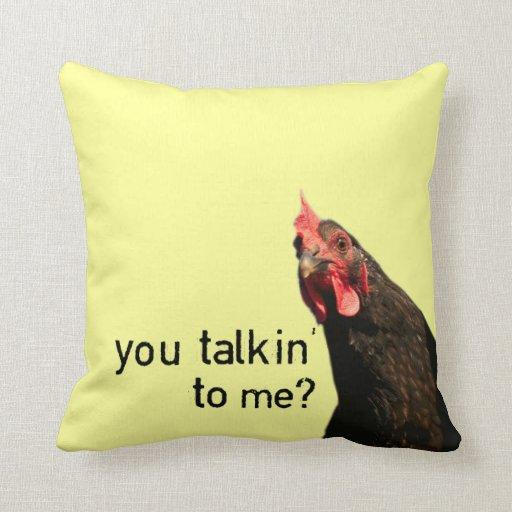Pollo divertido de la actitud cojín