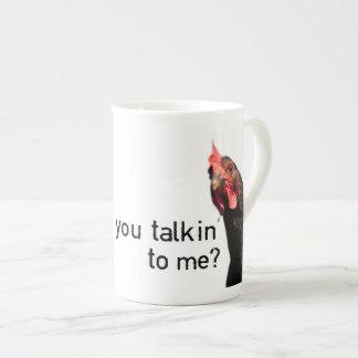 ¿Pollo divertido de la actitud - usted talkin a mí Taza De Porcelana