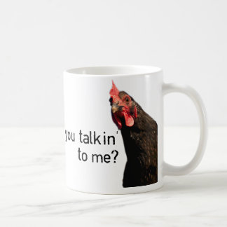 ¿Pollo divertido de la actitud - usted talkin a Taza Básica Blanca