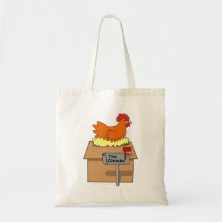 Pollo divertido de la casa de Chook en dibujo anim Bolsa Lienzo