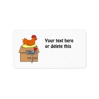 Pollo divertido de la casa de Chook en dibujo anim Etiqueta De Dirección