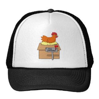 Pollo divertido de la casa de Chook en dibujo anim Gorros