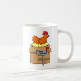 Pollo divertido de la casa de Chook en dibujo anim Taza De Café