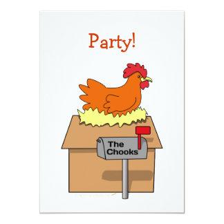"""Pollo divertido de la casa de Chook en dibujo Invitación 5"""" X 7"""""""