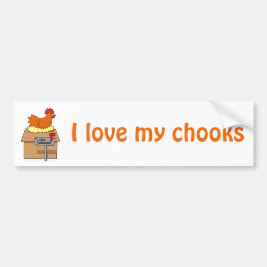 Pollo divertido de la casa de Chook en dibujo Pegatina Para Auto