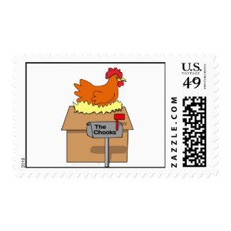 Pollo divertido de la casa de Chook en dibujo Sellos
