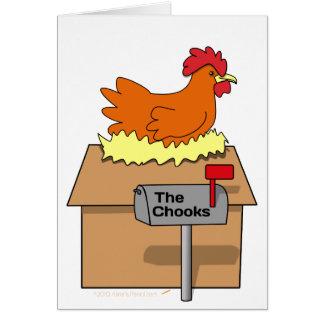 Pollo divertido de la casa de Chook en dibujo Tarjeta De Felicitación