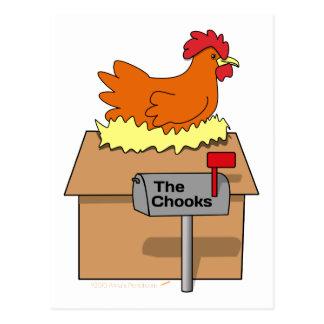 Pollo divertido de la casa de Chook en dibujo Postal