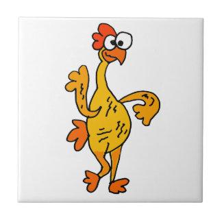 Pollo divertido del caucho del baile azulejo cuadrado pequeño