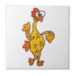 Pollo divertido del caucho del baile azulejos