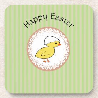 Pollo divertido lindo de Pascua Posavasos De Bebida