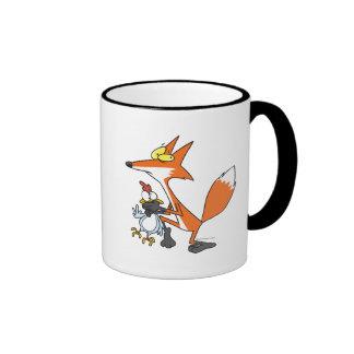 pollo divertido que roba el zorro del stealer taza de café