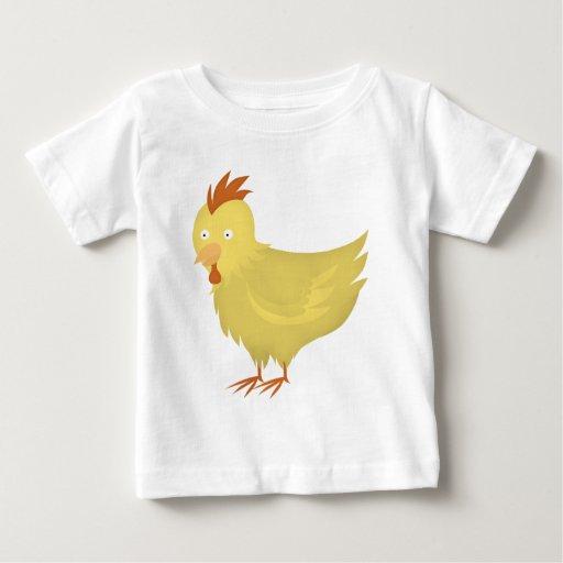 pollo emplumado amarillo playera de bebé
