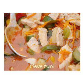 pollo en curry rojo con las verduras postales