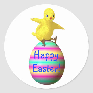 Pollo en el huevo de Pascua Pegatina Redonda