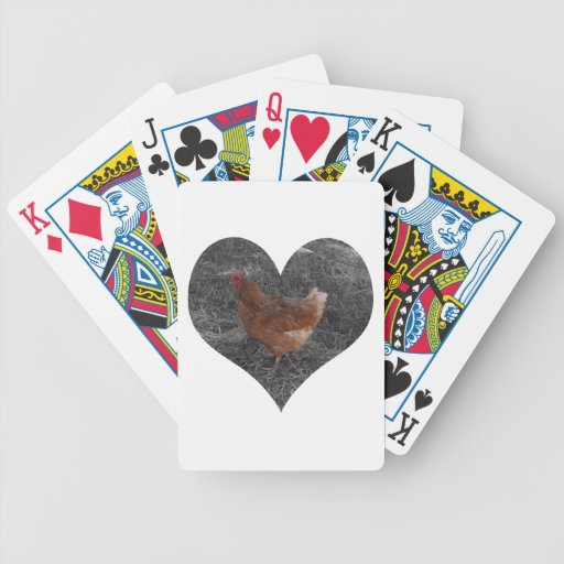 Pollo en forma de corazón baraja cartas de poker