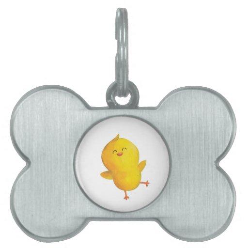 Pollo feliz del baile placa de nombre de mascota