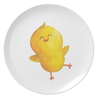 Pollo feliz del baile plato de comida